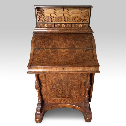 Burr Walnut 'piano-top' Davenport Desk with pop-up compartments