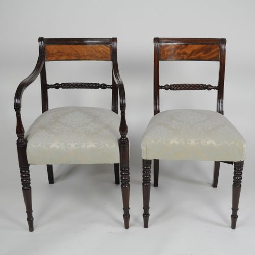 Set of six 6 (4+2) early 19th century Rope-back Dining Chairs
