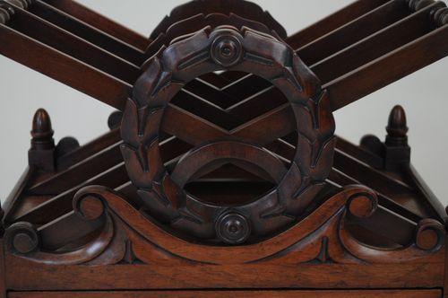 Early 19th Century Mahogany wreath-carved Canterbury