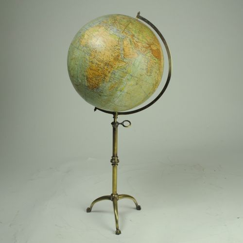 12-inch Phillips Terrestrial Table Globe on Brass Stand