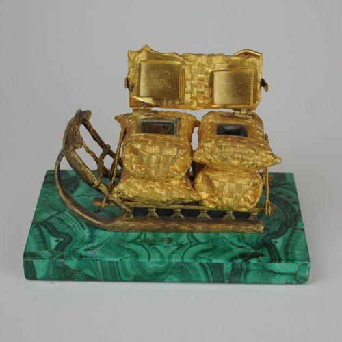 Russian Ormolu Inkwell modelled as a Sleigh