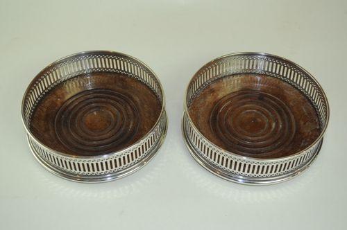 Pair of modern silver wine Coasters