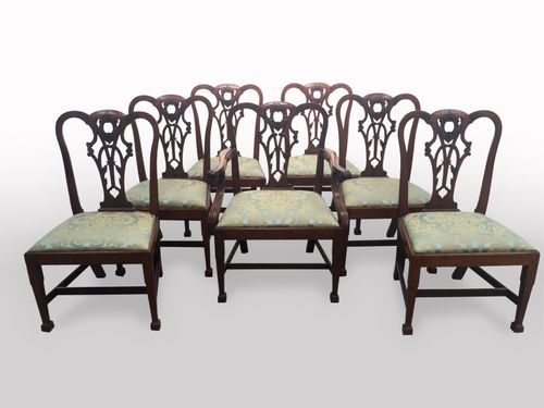 Set of seven (6 + 1) mid 19th century Chippendale style chairs