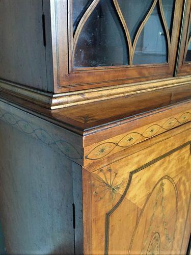 Narrow Sheraton revival Satinwood inlaid bookcase