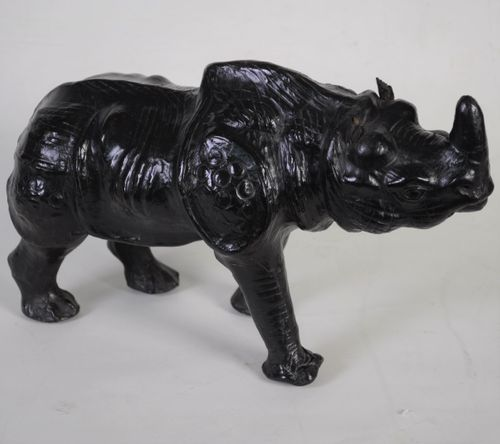 Small leather covered model of a Rhinceros/Rhino