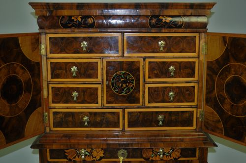 Small William & Mary Oyster Veneered Cabinet on Stand
