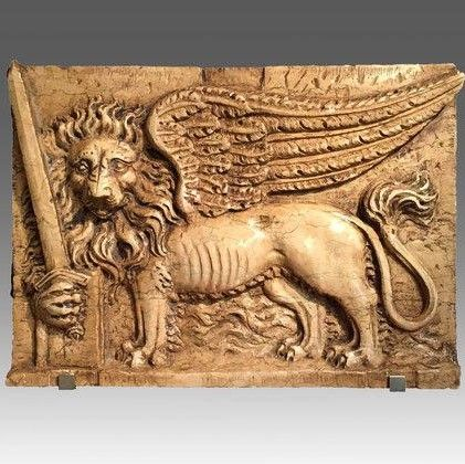 Carved Sienna Marble Wall Panel of The St Mark's Lion