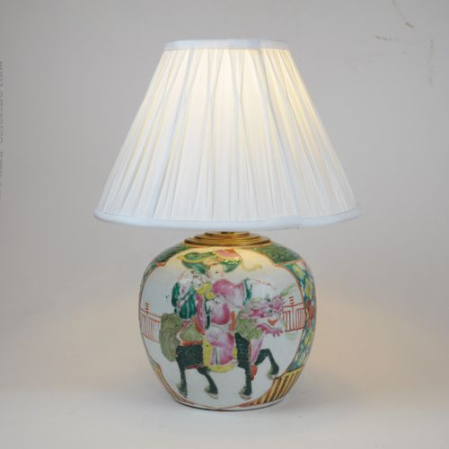 Chinese Polychrome Table Lamp