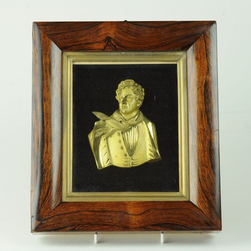 Rare gilded bronze bust of George IV in original frame