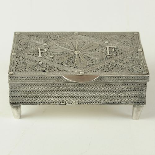 Continental silver filigree trinket box