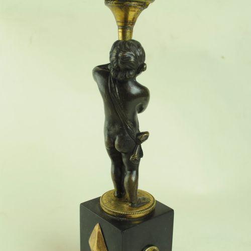 Pair of Bronze & Ormolu Putti Candlesticks