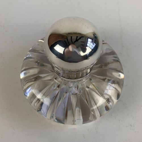 Silver topped glass inkwell