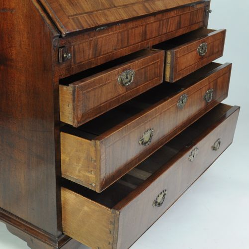 American(?) 18th century figured walnut bureau