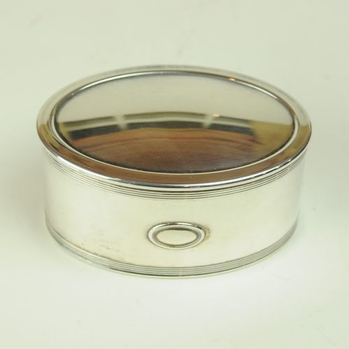 Modern oval silver trinket box