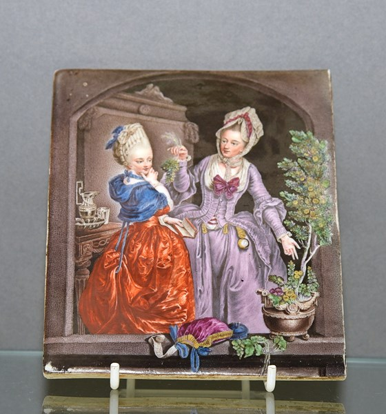 Meissen Plaque of 'The Botany Lesson'