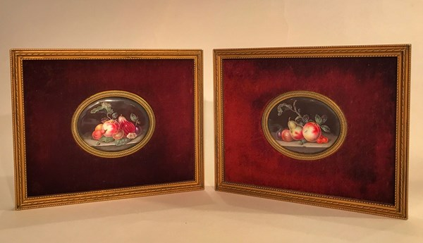 Pair of Enamel Plauques