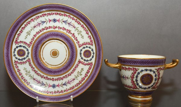Sèvres Double Handled Cup and Saucer