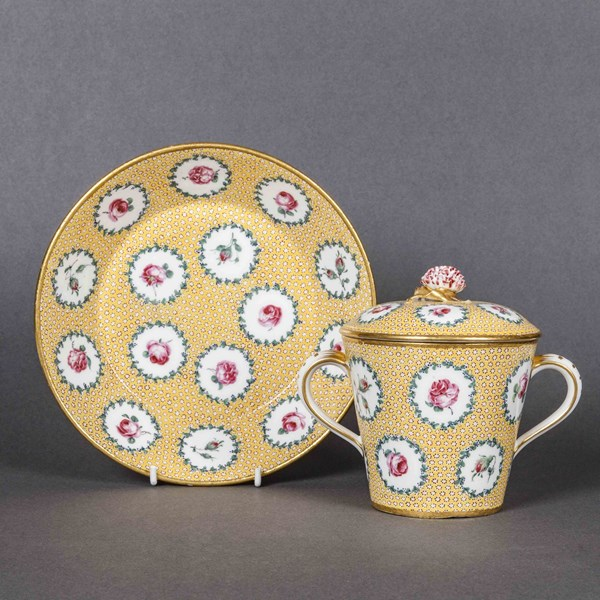 Sèvres Two Handled Cup, Cover and Saucer