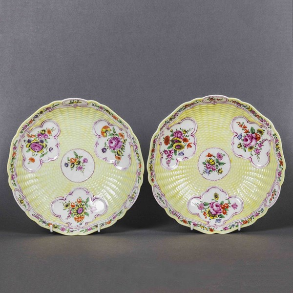 Pair of Worcester Junket Dishes