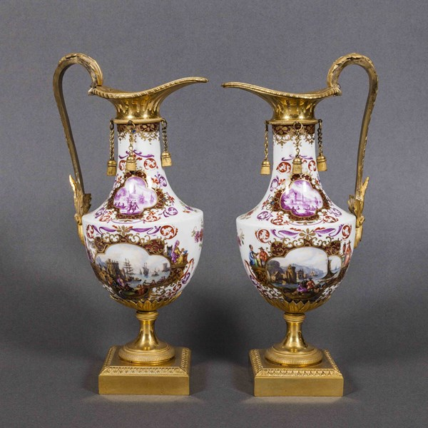 Pair of Meissen Ewers