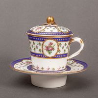 Sèvres Large Cup, Cover and Trembleuse Saucer