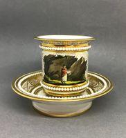A Barr, Flight & Barr Worcester Porcelain Footed Cabinet Cup & Saucer