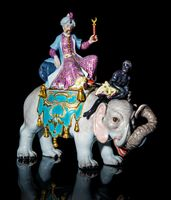 Meissen Group of the Sultan riding on the back of an Elephant with a Blackamoor Figure