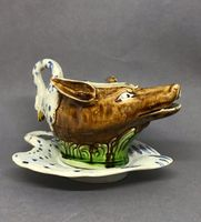 Staffordshire Pottery Sauceboat and Stand