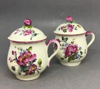 A Pair of Mennecy Pot à jus or Custard cups and covers