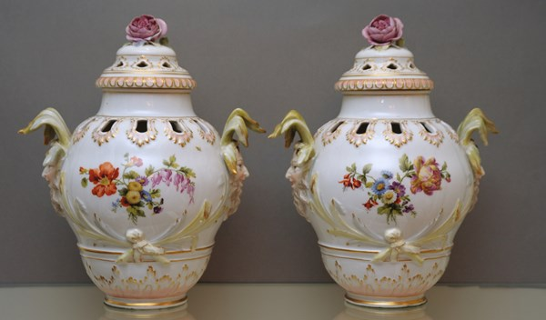 Pair of Berlin Pot-Pourri vases and covers