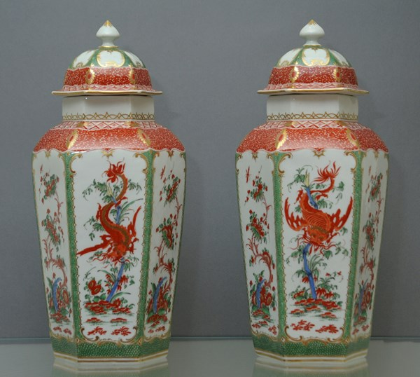 Pair of Worcester Hexagonal Vases and Covers