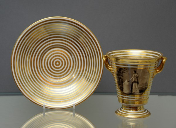 Vienna Two Handled Beaker and Saucer