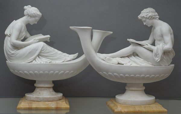 Pair of Sèvres Biscuit Oil Lamps