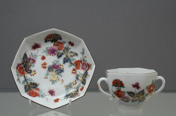 Meissen Octagonal Two Handled Cup and Saucer