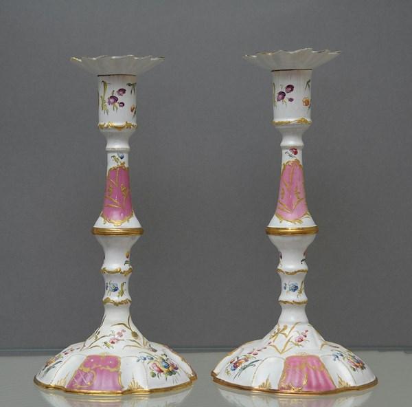 Pair of Enamel Candlesticks