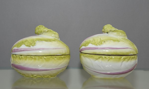 Pair of Chelsea Lettuce Tureens and Covers