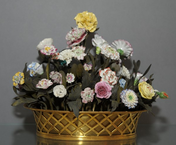Basket of Porcelain Flowers